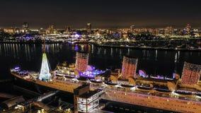Navio histórico de Queen Mary na noite foto de stock royalty free