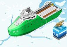 Navio isométrico do quebra-gelo que quebra o gelo em Front View ilustração do vetor