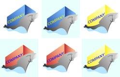 Navio minimalista com um logotipo do negócio de frete do mar da carga Imagens de Stock Royalty Free