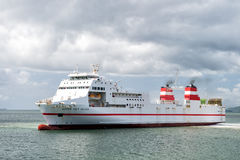 Navio moderno no mar azul Foto de Stock Royalty Free