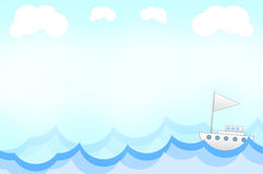 Navio no fundo do estilo dos desenhos animados Fotografia de Stock Royalty Free