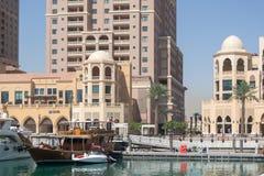 Navio tradicional na doca de Doha foto de stock