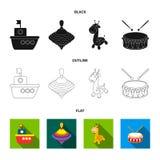 Navio, yule, girafa, cilindro Os brinquedos ajustaram ícones da coleção em preto, liso, Web da ilustração do estoque do símbolo d ilustração stock