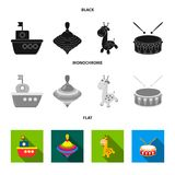 Navio, yule, girafa, cilindro Os brinquedos ajustaram ícones da coleção na ilustração preta, lisa, monocromática do estoque do sí ilustração royalty free