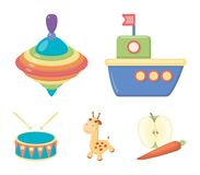 Navio, yule, girafa, cilindro Os brinquedos ajustaram ícones da coleção na Web da ilustração do estoque do símbolo do vetor do es ilustração stock