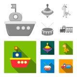 Navio, yule, girafa, cilindro Os brinquedos ajustaram ícones da coleção na Web monocromática, lisa da ilustração do estoque do sí ilustração royalty free