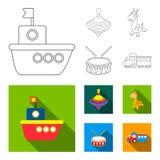 Navio, yule, girafa, cilindro Os brinquedos ajustaram ícones da coleção no esboço, Web lisa da ilustração do estoque do símbolo d ilustração stock