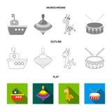 Navio, yule, girafa, cilindro Os brinquedos ajustaram ícones da coleção no plano, esboço, ilustração monocromática do estoque do  ilustração stock