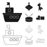 Navio, yule, girafa, cilindro Os brinquedos ajustaram ícones da coleção no preto, Web da ilustração do estoque do símbolo do veto ilustração stock