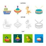 Navio, yule, girafa, cilindro Os brinquedos ajustaram ícones da coleção nos desenhos animados, esboço, Web lisa da ilustração do  ilustração do vetor