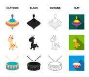 Navio, yule, girafa, cilindro Os brinquedos ajustaram ícones da coleção nos desenhos animados, preto, esboço, ilustração lisa do  ilustração stock