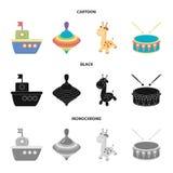 Navio, yule, girafa, cilindro Os brinquedos ajustaram ícones da coleção nos desenhos animados, preto, ilustração monocromática do ilustração stock