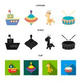 Navio, yule, girafa, cilindro Os brinquedos ajustaram ícones da coleção nos desenhos animados, preto, Web lisa da ilustração do e ilustração royalty free