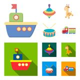 Navio, yule, girafa, cilindro Os brinquedos ajustaram ícones da coleção nos desenhos animados, Web lisa da ilustração do estoque  ilustração do vetor