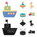 Navio, yule, girafa, cilindro Os brinquedos ajustaram ícones da coleção nos desenhos animados, Web preta da ilustração do estoque ilustração do vetor