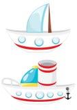 Navios bonitos dos desenhos animados Imagens de Stock Royalty Free