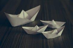Navios brancos do origâmi Foto de Stock Royalty Free