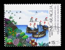 Navios de navigação, descoberta de América, 500th serie do aniversário, ci fotos de stock royalty free