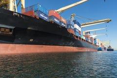 Navios de recipiente entrados perto acima Fotografia de Stock Royalty Free