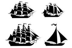 Navios do vetor ajustados com elementos editáveis separados. Foto de Stock Royalty Free