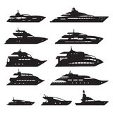 Navios e barcos ajustados, grupo do ícone do iate Vetor ilustração do vetor