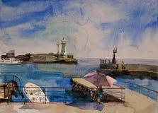 Navios e farol na baía ilustração stock