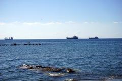 Navios e pescador Foto de Stock Royalty Free