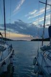 Navios e por do sol Imagem de Stock Royalty Free