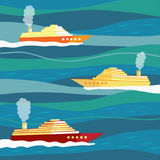 Navios em ondas Fotografia de Stock Royalty Free