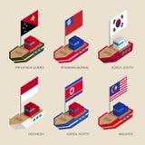 Navios isométricos com bandeiras: Papuásia-Nova Guiné, Myanmar, sul e Coreia do Norte, Indonésia, Malásia ilustração royalty free