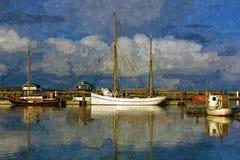 Navios na baía ilustração royalty free