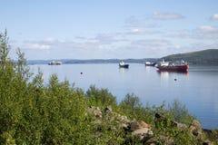 Navios na baía do Kola Fotografia de Stock