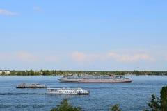Navios no cartão do rio do russo de Volga Imagens de Stock Royalty Free