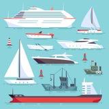 Navios no mar, barcos de envio, ícones do vetor do transporte de oceano ajustados ilustração royalty free