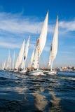 Navios no mar dos azuis Imagens de Stock