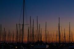 Navios no por do sol Fotografia de Stock