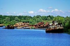 Navios oxidados velhos Fotografia de Stock Royalty Free