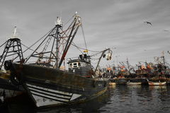 Navios velhos, porto de Essaouira, Marrocos Imagens de Stock