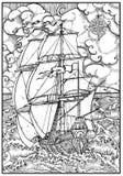 Navire antique sous la pleine voile contre le paysage orageux de mer dans le cadre illustration stock