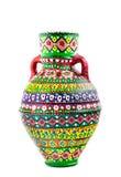 Navire coloré décoré égyptien de poterie (Kolla) Photos stock