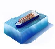 Navire de charge sur une partie d'océan illustration de vecteur
