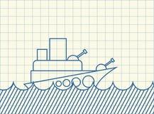 Navire de guerre de croquis dessin de bateau de militaires Illustration de vecteur illustration de vecteur
