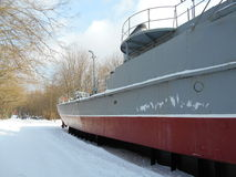 Navire de guerre en parc de neige Photos libres de droits