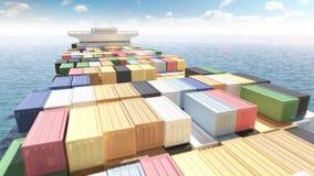 Navire porte-conteneurs de cargaison en mer illustration de vecteur