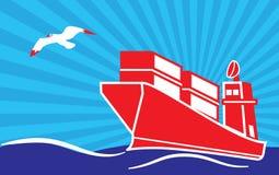 Navire porte-conteneurs de mer et mouette dans le ciel, avec le backgro de rayon de soleil Photo stock