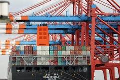 Navire porte-conteneurs de port de Hambourg Image stock