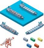 Navire porte-conteneurs de vecteur avec la grue Photo libre de droits