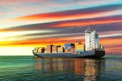 Navire porte-conteneurs sur la mer Photographie stock libre de droits