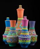 Navires de poterie peints par Egyptien Photos stock