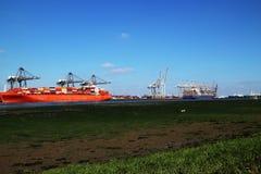Navires porte-conteneurs accouplés Photographie stock libre de droits